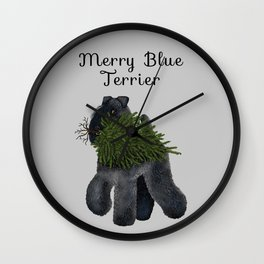 Merry Blue Terrier (Gray Background) Wall Clock