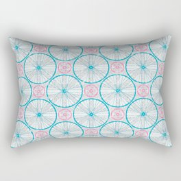 For the Love of Cycling Pattern - Grey Blue Pink Rectangular Pillow