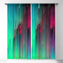 Just Chillin' - Abstract Neon Glitch Pixel Art Blackout Curtain