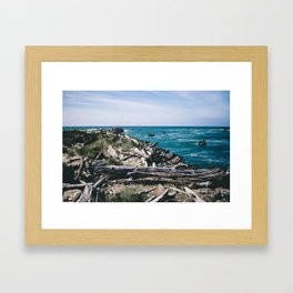 Jetty Fishing    Oregon Coast Framed Art Print