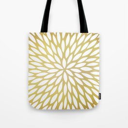 White Leaves on Gold Tote Bag