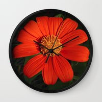 mexican Wall Clocks featuring Mexican Sunflower by Awesome Palette