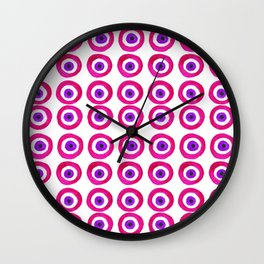 Evil Eye Amulet Talisman in Pink Wall Clock