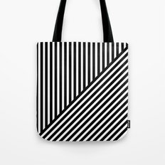 Black & White Stripes & Diagonals Tote Bag
