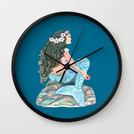 Mermaid on a rock with flowers and shells Wall Clock