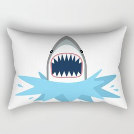 Cartoon Shark Splash Rectangular Pillow
