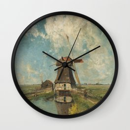 A mill on a polder canal, known as 'In the month of July' - Paul Joseph Constantin Gabriël (1889) Wall Clock