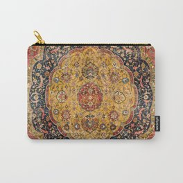 Indian Boho III // 16th Century Distressed Red Green Blue Flowery Colorful Ornate Rug Pattern Carry-All Pouch