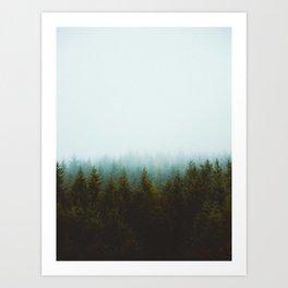 Landscape Pine Forest Green Evergreen Trees Minimalist Simple Landscape Art Print