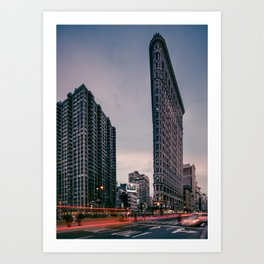 Flatiron Building with Light Trails, New York Art Print