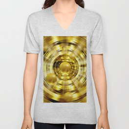 Abstract fantasy painting in gold. Unisex V-Neck