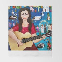 Violeta Parra playing guitar Throw Blanket