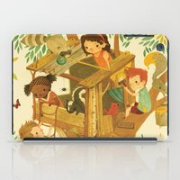 boys iPad Cases featuring Our House In the Woods by Teagan White