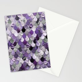 Mermaid Purple and Silver Stationery Cards