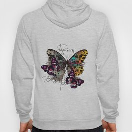 Fashion art print with colorful tropical butterly Hoody