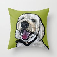 kermit Throw Pillows featuring Kermit the labradoodle by Pawblo Picasso