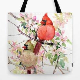 Cardinal Birds and Spring, cardinal bird design Tote Bag