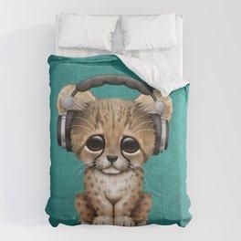 Cute Cheetah Cub Dj Wearing Headphones on Blue Comforters