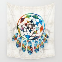 Native American Colorful Dream Catcher by Sharon Cummings Wall Tapestry