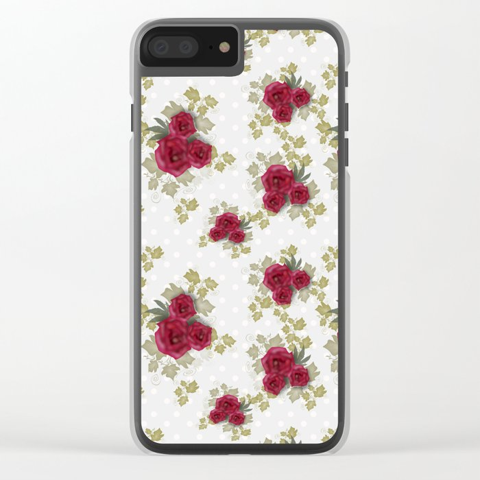 Red retro roses print Clear iPhone Case