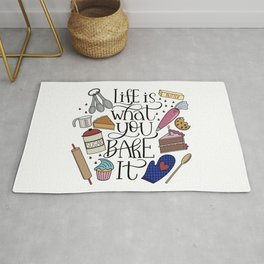 Life Is What You Bake It Baking And Dessert Lover Design Rug