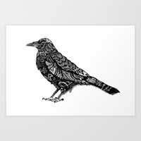 raven Art Prints featuring Raven by Rebexi