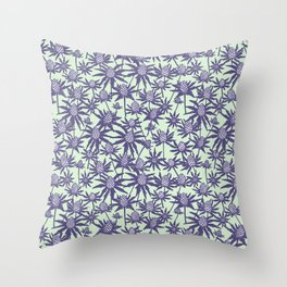 Sea holly in mint and purple Throw Pillow