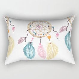 Bright watercolor boho dreamcatcher feathers Rectangular Pillow