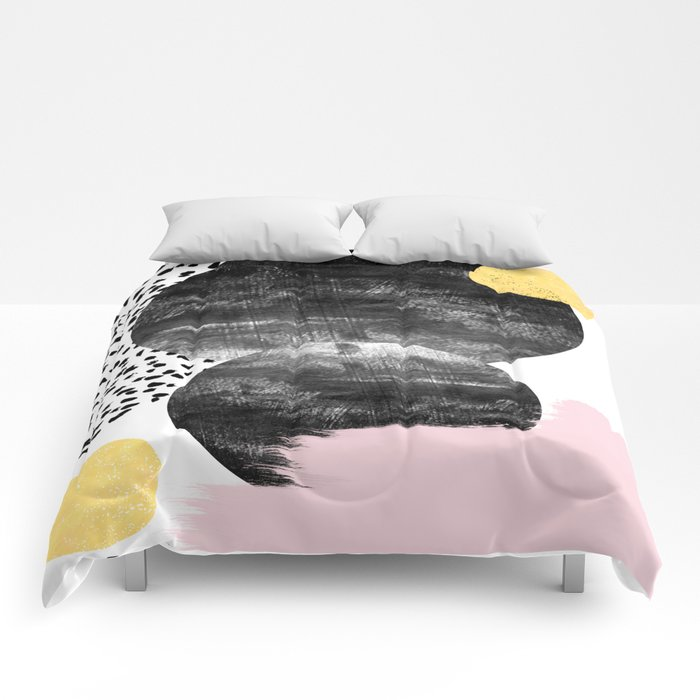 Roussel - pink pastel girly hipster trendy art decor dorm college brooklyn abstract minimal painting Comforters