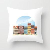 copenhagen Throw Pillows featuring Copenhagen by HOONISME