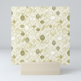 Honesty Flower Seed Grid in Green Mini Art Print