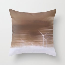 Ghostly wind turbines Throw Pillow