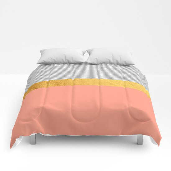 Minimalist fashion peach pink gold squares comforters for Minimalist comforter