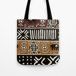 African mud cloth with elephants Tote Bag