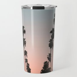 California Sunset // Palm Tree Silhouette Street View Orange and Blue Color Sky Beach Photography Travel Mug