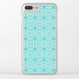 Victorian Floral Pattern turquoise Clear iPhone Case