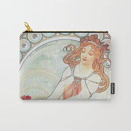 Painting by Alphonse Mucha 1898 // Retro Woman with a Flower Geometric Circle Abstract Carry-All Pouch