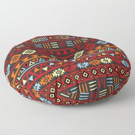 Aztec Influence Ptn IV Orange Red Blue Black Yellow Floor Pillow