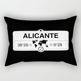 Alicante Valencian Community with World Map GPS Coordinates Rectangular Pillow