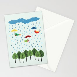 Birds in the rain. Stationery Cards