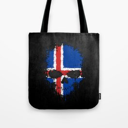 Flag of Iceland on a Chaotic Splatter Skull Tote Bag