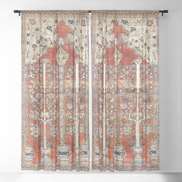 Silk Tabriz Northwest Persian Rug Print Sheer Curtain