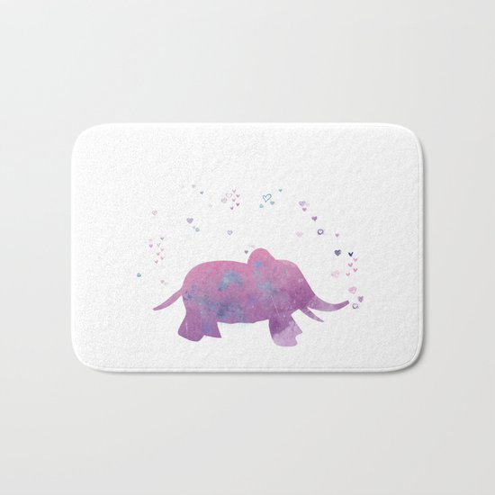Love is in the air - Elephant animal watercolor illustration Bath Mat