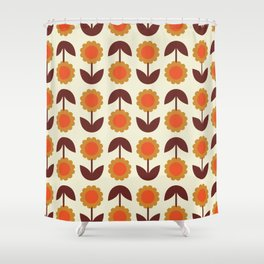 Retro 70s Wallpaper Flowers Shower Curtain