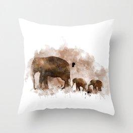 Elephant and Calves Throw Pillow