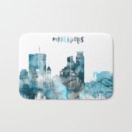 Minneapolis Monochrome Blue Skyline Bath Mat