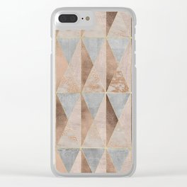 Copper Foil and Blush Rose Gold Marble Triangles Argyle Clear iPhone Case