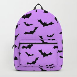 Black Bat Pattern on Purple Backpack