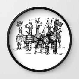 Llamas in Pajamas in Black and  White Wall Clock