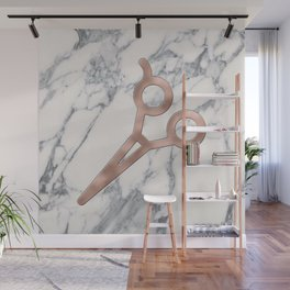 Rose Gold Scissors on Marble Background - Salon Decor Wall Mural